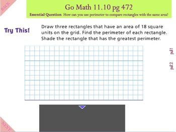 Go Math Interactive Mimio Lesson 11.10 Same Area, Different Perimeters