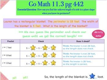 Go Math Interactive Mimio Lesson 11.3 Algebra - Find Unknown Lengths