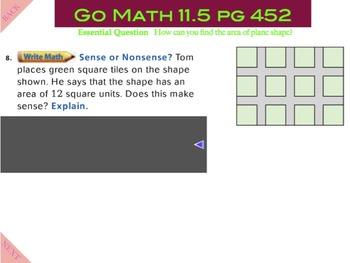 Go Math Interactive Mimio Lesson 11.5 Measure Area