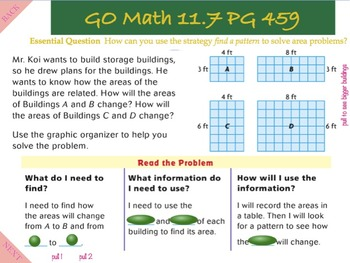 Go Math Interactive Mimio Lesson 11.7 Problem Solving - Areas of Recthangles