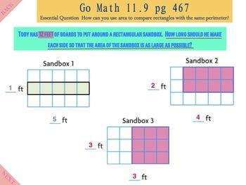 Go Math Interactive Mimio Lesson 11.9 Same Perimeter, Different Areas
