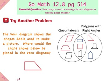 Go Math Interactive Mimio Lesson 12.8 Problem Solving - Classify Plane Shapes