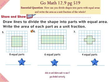 Go Math Interactive Mimio Lesson 12.9 Relate Shapes, Fractions, and Area