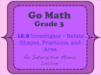 Go Math Interactive Mimio Lesson 12.9 Relate Shapes, Fract
