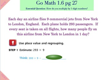 Go Math Interactive Mimio Lesson 1.6 Multiply by 1-Digit Numbers