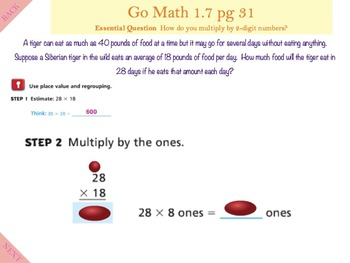 Go Math Interactive Mimio Lesson 1.7 Multiply by 2-Digit Numbers