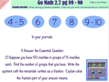 Go Math Interactive Mimio Lesson 2.7 Interpret the Remainder