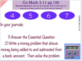 Go Math Interactive Mimio Lesson 3.11 Problem Solving Add and Subtract Money