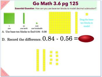 Go Math Interactive Mimio Lesson 3.6 Investigate Decimal Subtraction