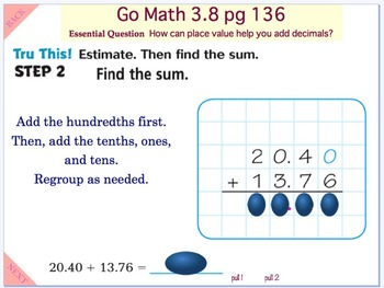 Go Math Interactive Mimio Lesson 3.8 Add Decimals