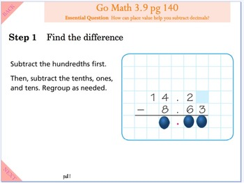 Go Math Interactive Mimio Lesson 3.9 Subtract Decimals