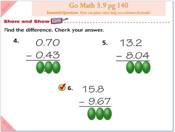 Go Math Interactive Mimio Lesson 3.9 Subtract Decimals