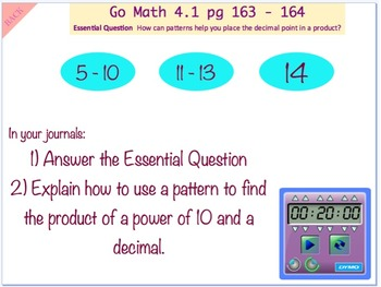 Go Math Interactive Mimio Lesson 4.1 Multiplication Patterns with Decimals