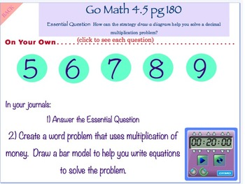 Go Math Interactive Mimio Lesson 4.5 Problem Solving - Multiply Money