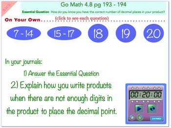 Go Math Interactive Mimio Lesson 4.8 Zeros in the Product