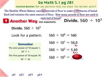 Go Math Interactive Mimio Lesson 5.1 Algebra • Division Patterns with Decimals