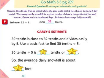 Go Math Interactive Mimio Lesson 5.3 Estimate Quotients