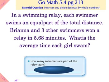 Go Math Interactive Mimio Lesson 5.4 Division of Decimals by Whole Numbers