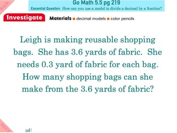 Go Math Interactive Mimio Lesson 5.5 Investigate • Decimal Divisions