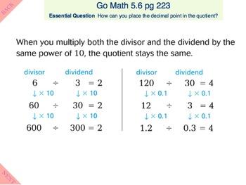 Go Math Interactive Mimio Lesson 5.6 Divide Decimals