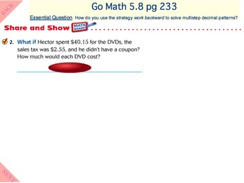 Go Math Interactive Mimio Lesson 5.8 Problem Solving • Decimal Operations