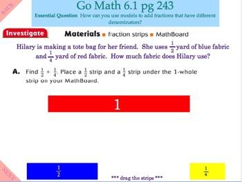 Go Math Interactive Mimio Lesson 6.1 Fraction Addition with Unlike Denominators
