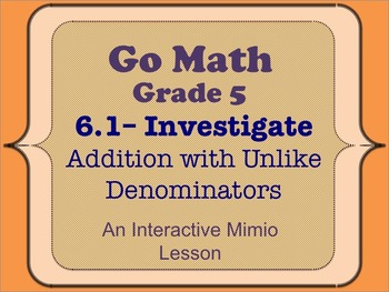 Go Math Interactive Mimio Lesson 6.1 Fraction Addition wit