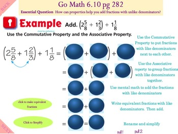 Go Math Interactive Mimio Lesson 6.10 Algebra • Use Properties of Addition