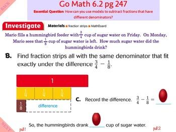 Go Math Interactive Mimio Lesson 6.2 Subtraction with Unlike Denominators
