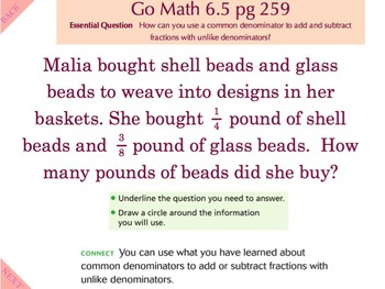 Go Math Interactive Mimio Lesson 6.5 Add and Subtract Fractions