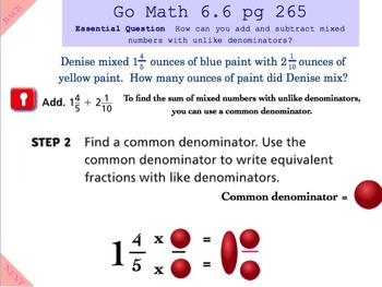 Go Math Interactive Mimio Lesson 6.6 Add and Subtract Mixed Numbers