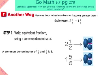 Go Math Interactive Mimio Lesson 6.7 Subtraction with Renaming