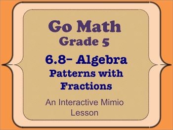 Go Math Interactive Mimio Lesson 6.8 Algebra • Patterns with Fractions