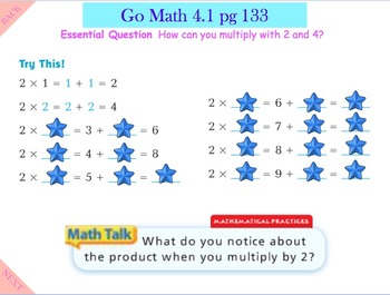 Go Math Interactive Mimio Lesson 4.1 Multiply with 2 and 4
