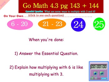 Go Math Interactive Mimio Lesson 4.3 Multiply with 3 and 6