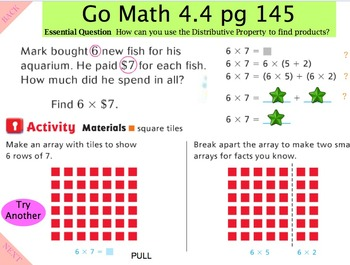 Go Math Interactive  Mimio Lesson 4.4 Algebra - Distributive Property