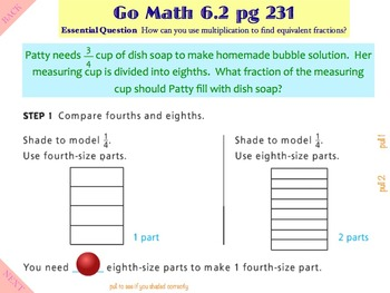 Go Math Interactive Mimio Lesson 6.2 Generate Equivalent Fractions