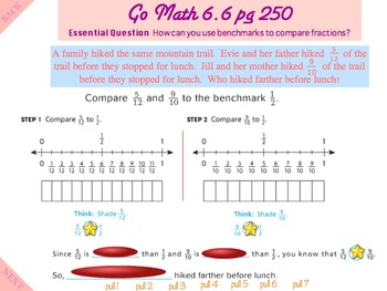 Go Math Interactive Mimio Lesson 6.6 Compare Fractions Using Benchmarks