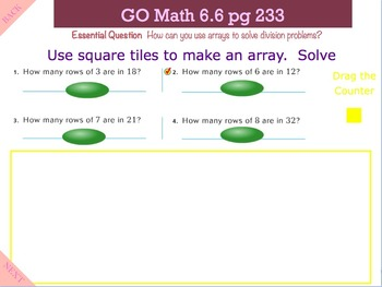 Go Math Interactive Mimio Lesson 6.6 Investigate - Model with Arrays