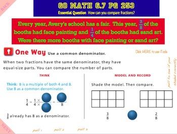 Go Math Interactive Mimio Lesson 6.7 Compare Fractions
