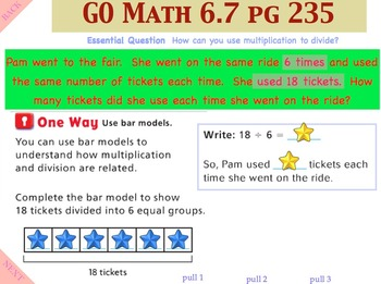 Go Math Interactive Mimio Lesson 6.7 Relate Multiplication and Division