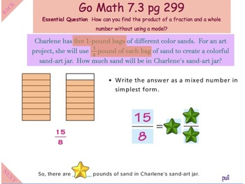 Go Math Interactive Mimio Lesson 7.3 Fraction-Whole Number Multiplication
