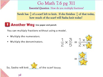 Go Math Interactive Mimio Lesson 7.6 Fraction Multiplication