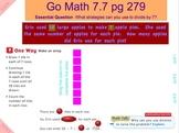Go Math Interactive Mimio Lesson 7.7 Divide by 7