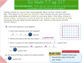 Go Math Interactive Mimio Lesson 7.7 Investigate - Area and Mixed Numbers