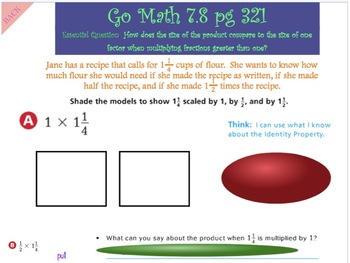 Go Math Interactive Mimio Lesson 7.8 Compare Mixed Number Factor & Products