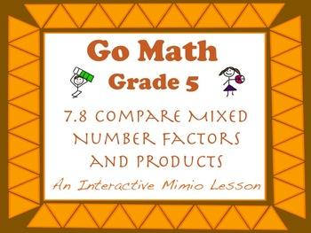 Go Math Interactive Mimio Lesson 7.8 Compare Mixed Number
