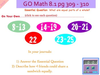 Go Math Interactive Mimio Lesson 8.1 Equal Parts of a Whole