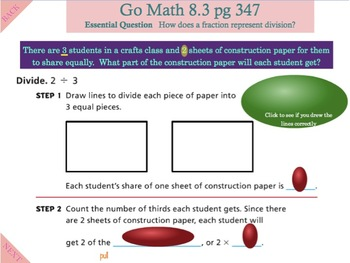 Go Math Interactive Mimio Lesson 8.3 Connect Fractions to Division