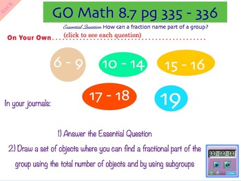 Go Math Interactive Mimio Lesson 8.7 Fractions of a Group